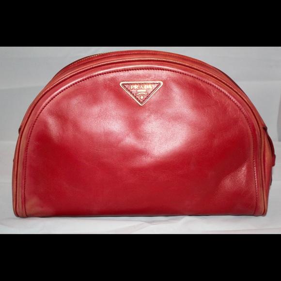 d104c0876138 Prada Bags   Red Vitello Prdada Clutch Vintage Gently Used   Poshmark